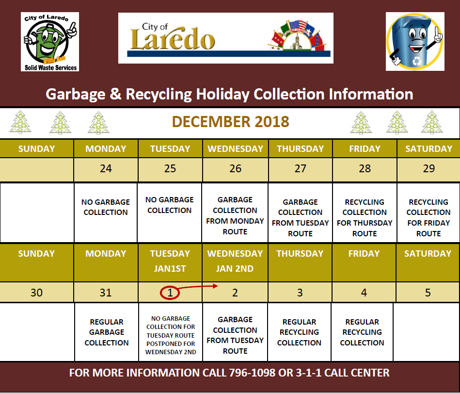 Holiday Collection Schedule 2018